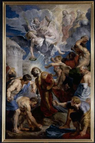 Rubens, Triptyque de Saint-Etienne (c. 1616-1617), panneau central d'une huile sur bois, Valenciennes, Musée des Beaux-Arts.