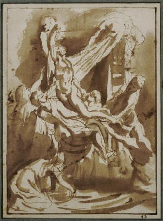 Rubens, Descente de croix, esquisse à l'encre (1617).