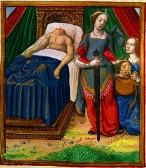 Judith et Holopherne, dans le manuscrit enluminé de Jean Pichore, La Vie des femmes célèbres, Paris, c. 1504-1506, Nantes, musée Thomas Dobrée.